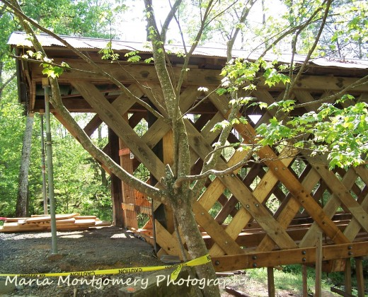 A side view of one entrance. It really was a pretty bridge; and it will be again.