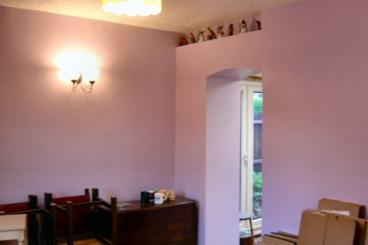 Dining Room Decorated, including new archway to kitchen