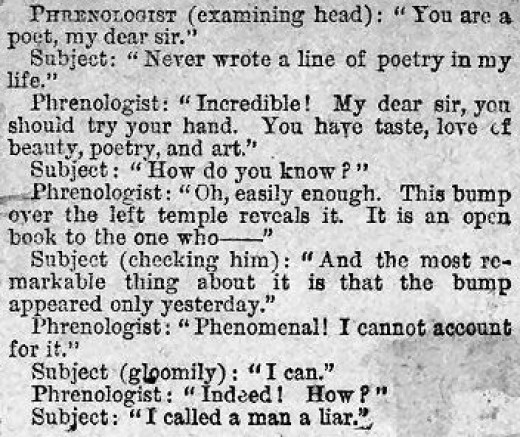 Phrenologist Humour published in a Victorian newspaper.