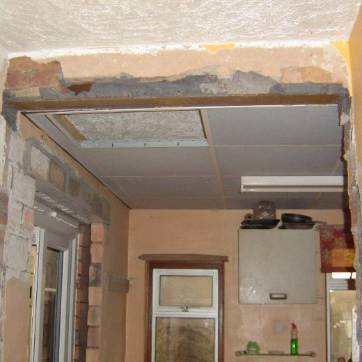 Steel Beam above where brick arch use to be in doorway