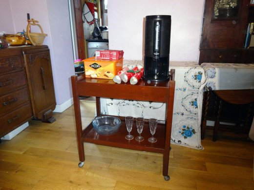 Table used as a tea trolley
