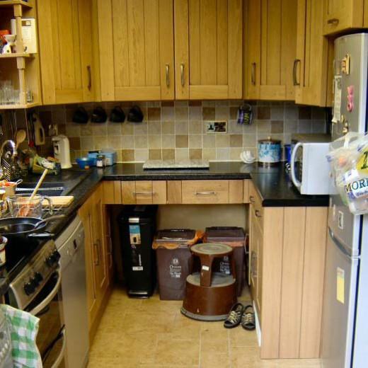 New tiled floor in kitchen