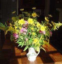 The artichoke cut flowers make a lovely autumn display
