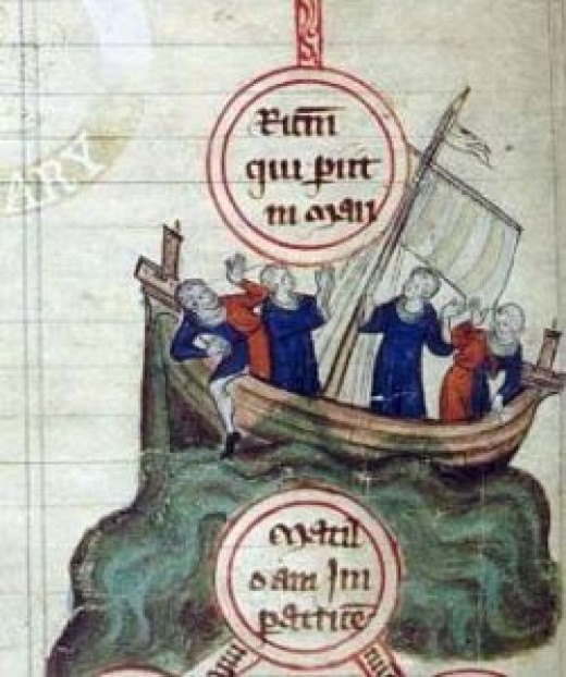 The Sinking of the White Ship in the English Channel near the Normandy coast off Barfleur, on November 25, 1120. Dated 1320