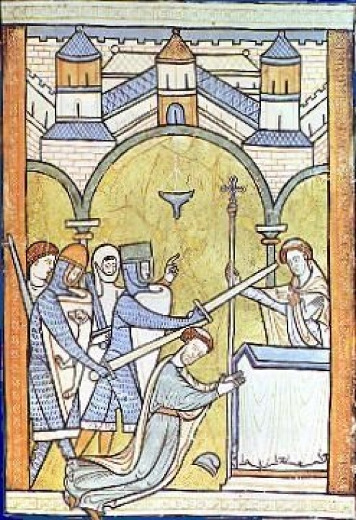 Earliest known portrayal of Thomas Becket's murder in Canterbury Cathedral 1200.