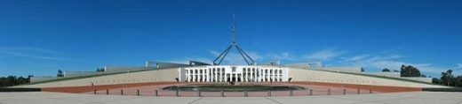 Panoramic view of the front of Australia's 'new' Parliament House built into Capital Hill and showing the 'boomerang' shaped design.
