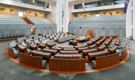 The House of Representatives is decorated in the colour of eucalyptus leaves.