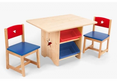 Kids Wooden Art Table With Open Storage