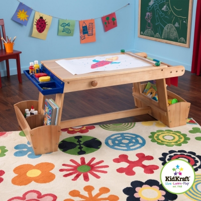Large Kids Wooden Art Table With Drawing Boards
