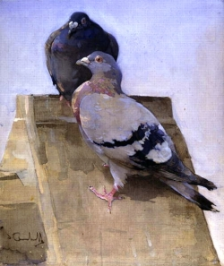 Pigeons On The Roof by Joseph Crawhall (1861-1913) Art Gallery and Museum, Kelvingrove, Glasgow, Scotland