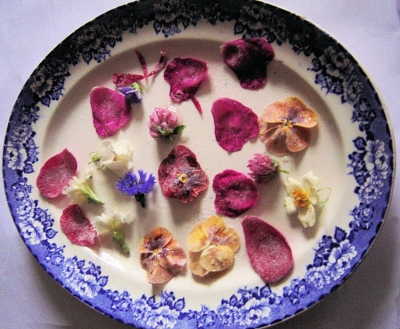 A Plate of Sugared Flowers for Valentines Day