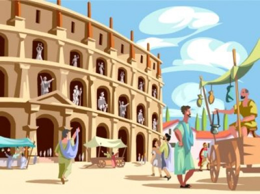 The marketplace bustled with visitors the world over wanting to trade with Rome.