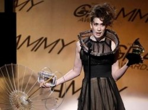 Imogen Heap in her Twitter Dress and Twitter Necklace