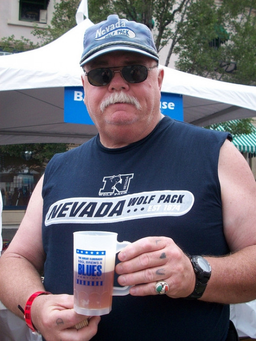 A Nevada Wolf Pack fan with his beer