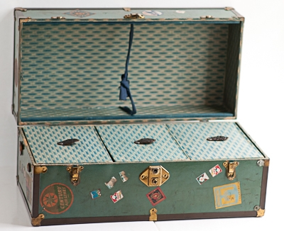 Steamer Trunk With Vintage Travel Stickers