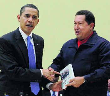 Obama Shakes The Hand Of Hugo Chavez.