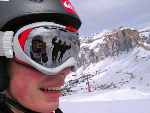 Face of man skiing