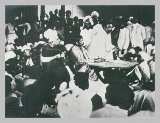 Sri Aurobindo presiding over a meeting of the Nationalists after the Surat Congress,1907