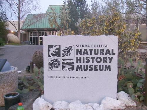 Sign for the Sierra College Museum, made out of locally quarried granite