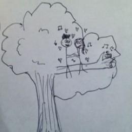 ross and gina sittin in a tree k-i-s-s-i-n-g