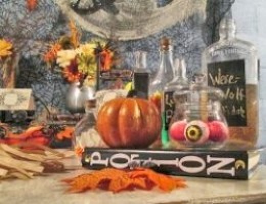 vintage halloween dessert table