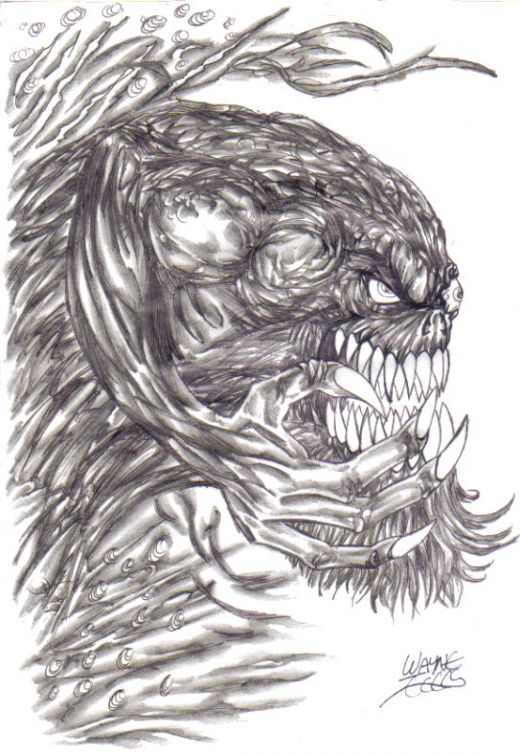Monster Drawing Concept Copyright Wayne Tully 2009