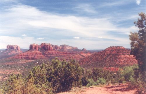 I think I got this photo on Schnebly Hill Road. This road goes from Sedona, climbs in altitude a fair amount, ends up on a plateau where the rocks are NOT red, and meets up with I-17 north of the turnoff at HWY 179.
