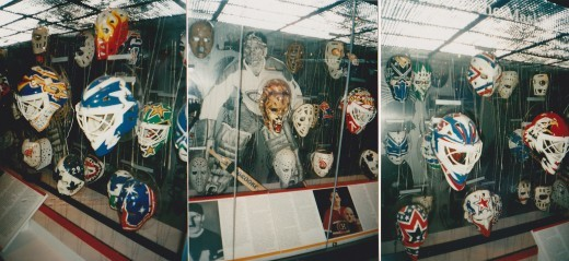 Hall Of Fame History of the Goalie Mask display