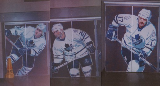Leafs Mural but I forget where it was On the Maple Leaf Guardens doors, inside or what. Middle is Tie Domi Rt. is Wendle Clark