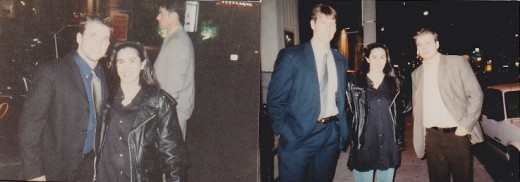 Double Pic.. L-R  P.J. Stock   myself of course Mike Knuble  Nilas Sundstrom outside of Wayne Gretzky's restaurant