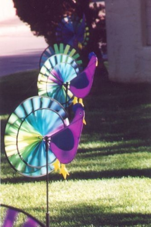 These little colorful plastic whirling chickens caught my eye.