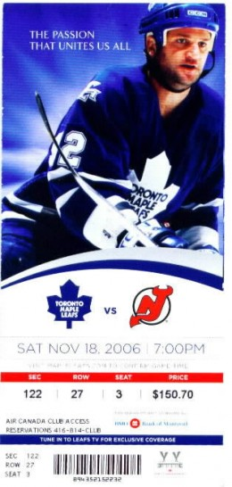 scan ©Toronto Maple Leafs season tick feat. Jeff O'Neil
