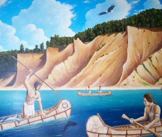 Depicts spear fishing along New York bluffs in the 1400s before the arrival of Champlain. Artwork by James Zeger. (Courtesy of Sodus Point Museum)