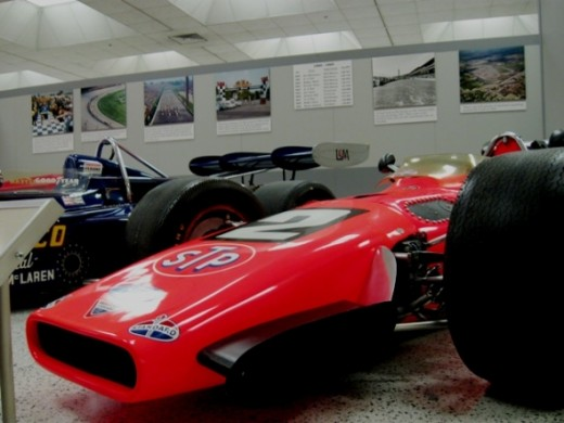This is Mario Andretti's 1968 winner. It's a Hawk-Ford, which he used after crashing his primary car in practice.