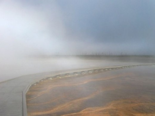 A foggy morning view of the boardwalk leading through the midway geyser basin.