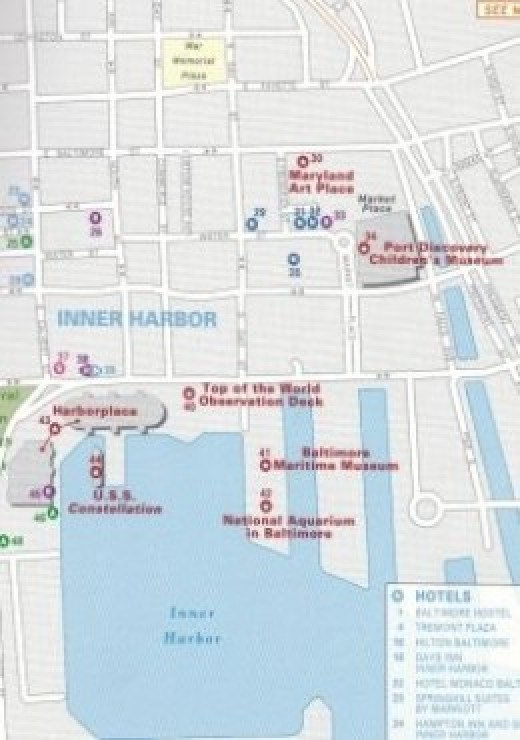 Section of Downtown and Inner Harbor Map