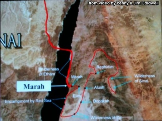 Map 7 Caldwell path from Red Sea to Rephidim shows encampments. (I found map January 2013).