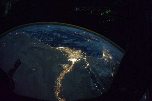 Nile River of Egypt at Night from Space