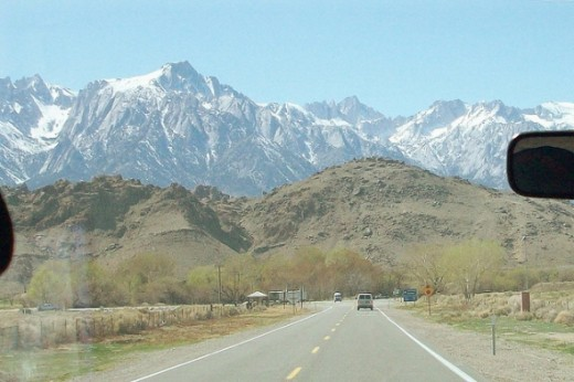 Driving Toward the Eastern Sierra, the Alabama Hills, and Mt Whitney
