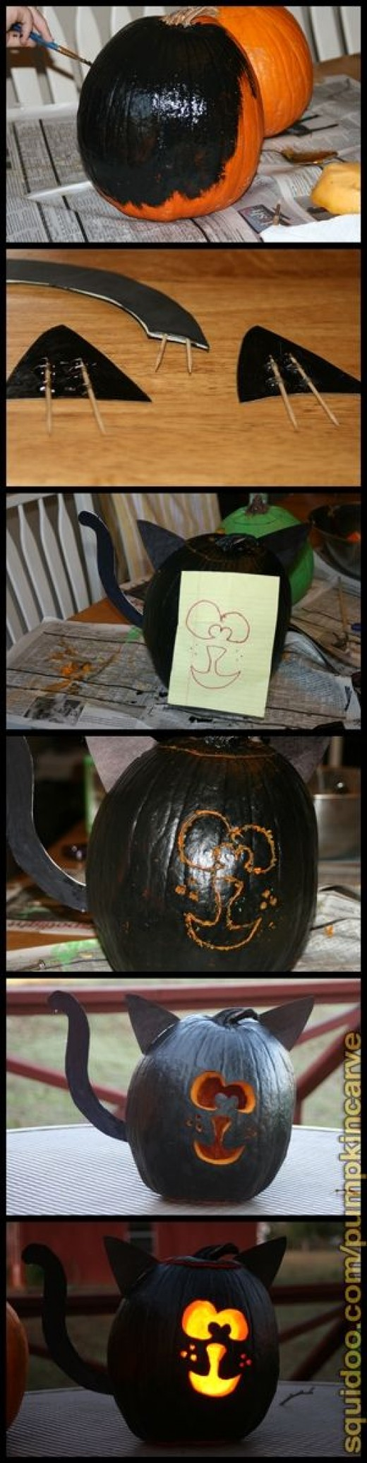 Our black cat carving. Painted Cat Face Pumpkin.