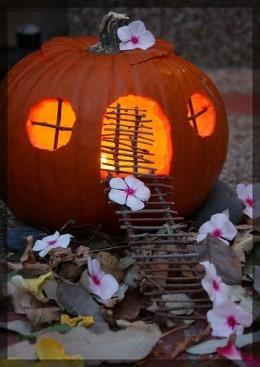 Pumpkin Fairy House with windows and door