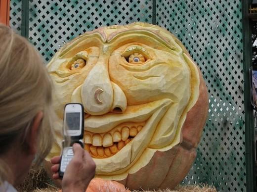 large carved pumpkin face festival chisel