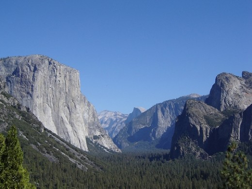 Yosemite National Park is in eastern-central California, and is a glaciated valley in the Sierra Nevada mountain range.
