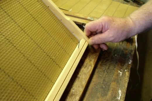Beekeeper assembles a frame.