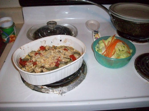 Zucchini Dish with a Side Salad