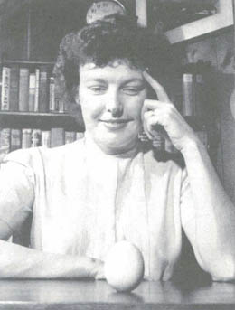 Betty Macdonald, with egg. Courtesy of Life Magazine 1946