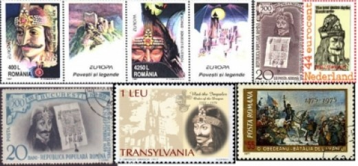 Collage of Vlad the Impaler stamps