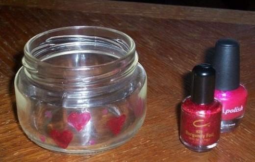 Paint Hearts on Valentines Jar