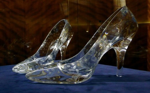 Pair of crystal glass slippers made by Dartington Crystal