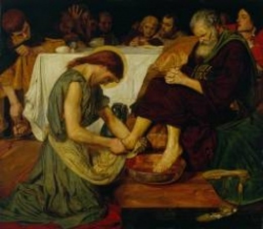 Painting of Jesus Washing Peter's Feet by Ford Madox Brown